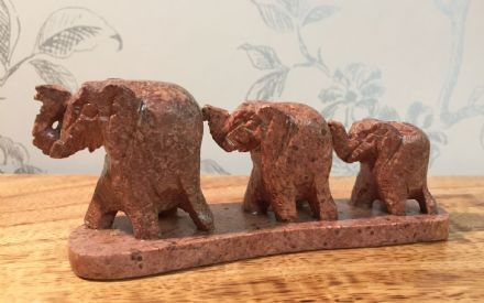 Indian Solid Soapstone Carved Walking Elephants Line of 3 Elephant Ornament
